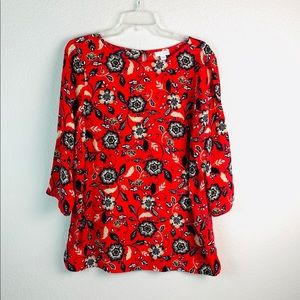J Jill Womens Floral viscose rayon Tee blouse
